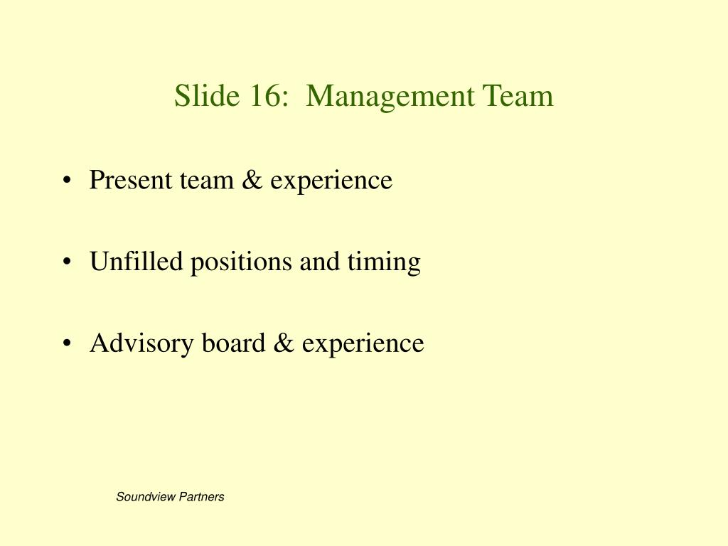 Slide 16:  Management Team