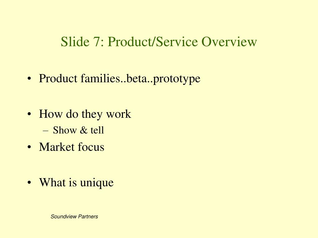 Slide 7: Product/Service Overview