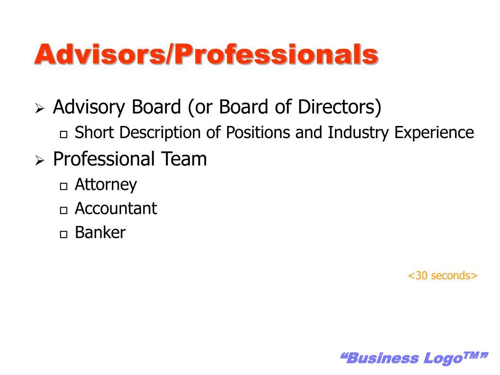Advisors/Professionals