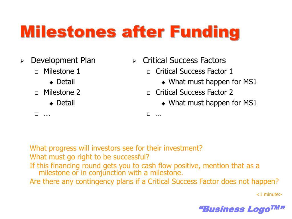 Milestones after Funding