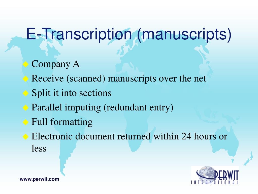 E-Transcription (manuscripts)