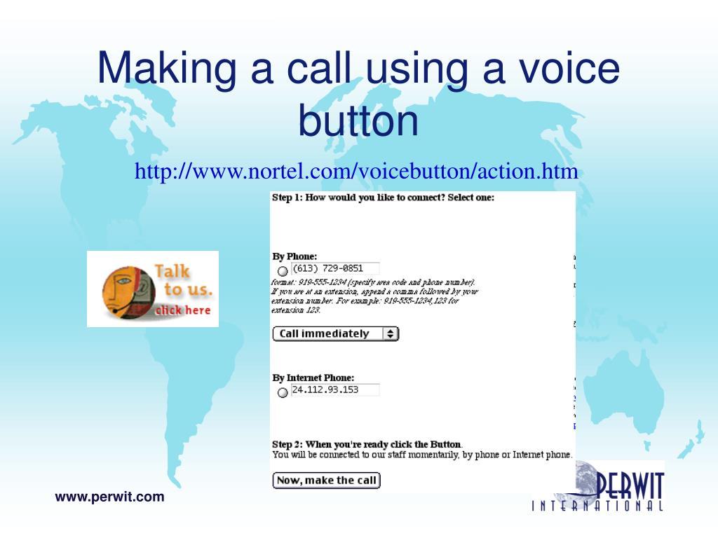 Making a call using a voice button