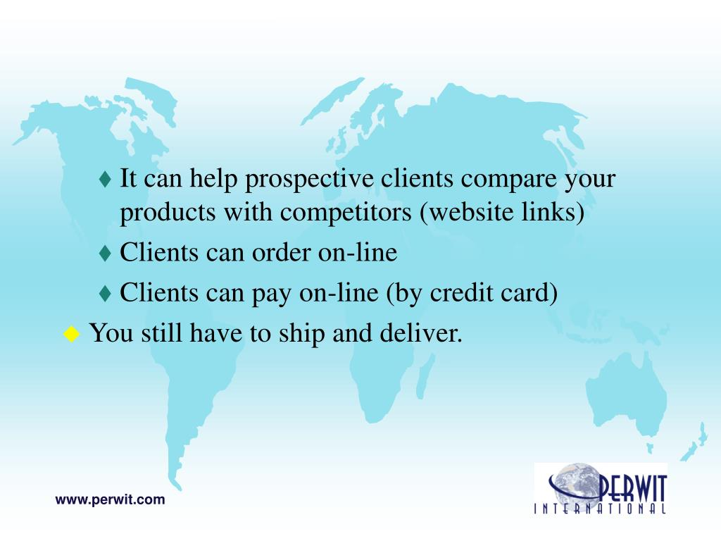 It can help prospective clients compare your products with competitors (website links)