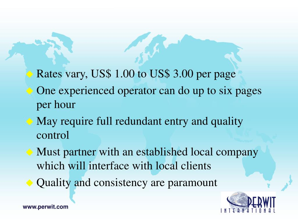 Rates vary, US$ 1.00 to US$ 3.00 per page