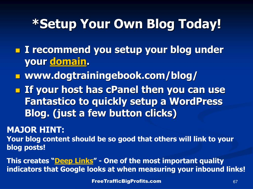 *Setup Your Own Blog Today!