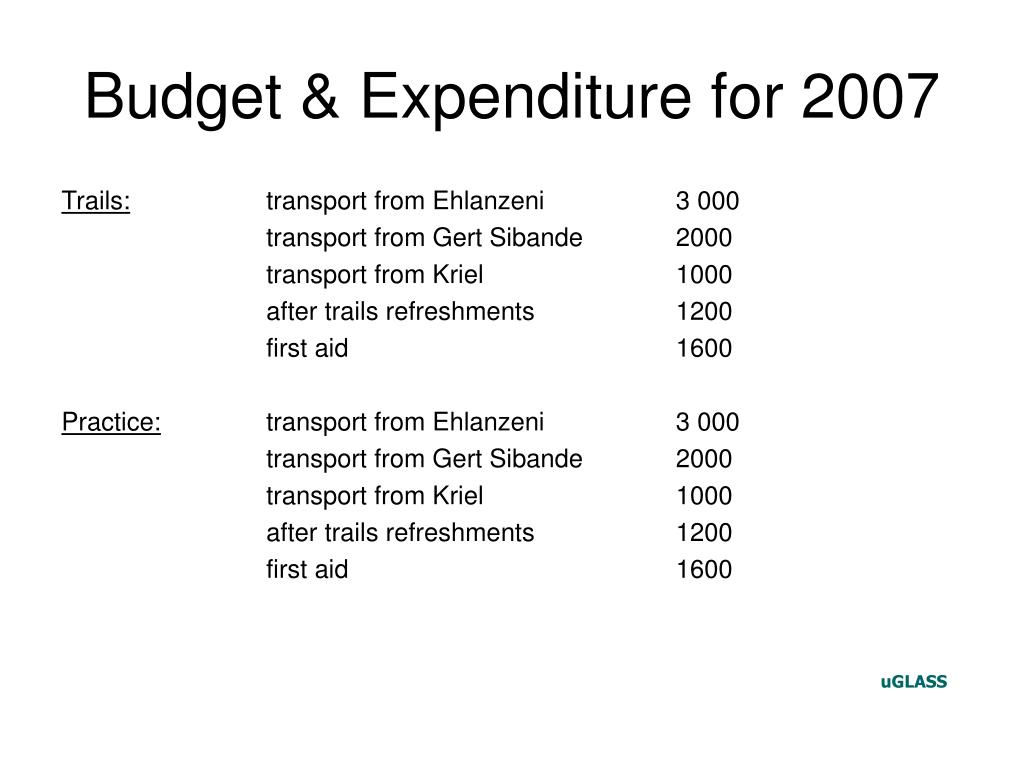 Budget & Expenditure for 2007