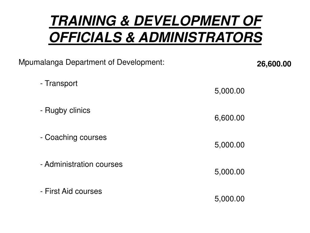 TRAINING & DEVELOPMENT OF OFFICIALS & ADMINISTRATORS