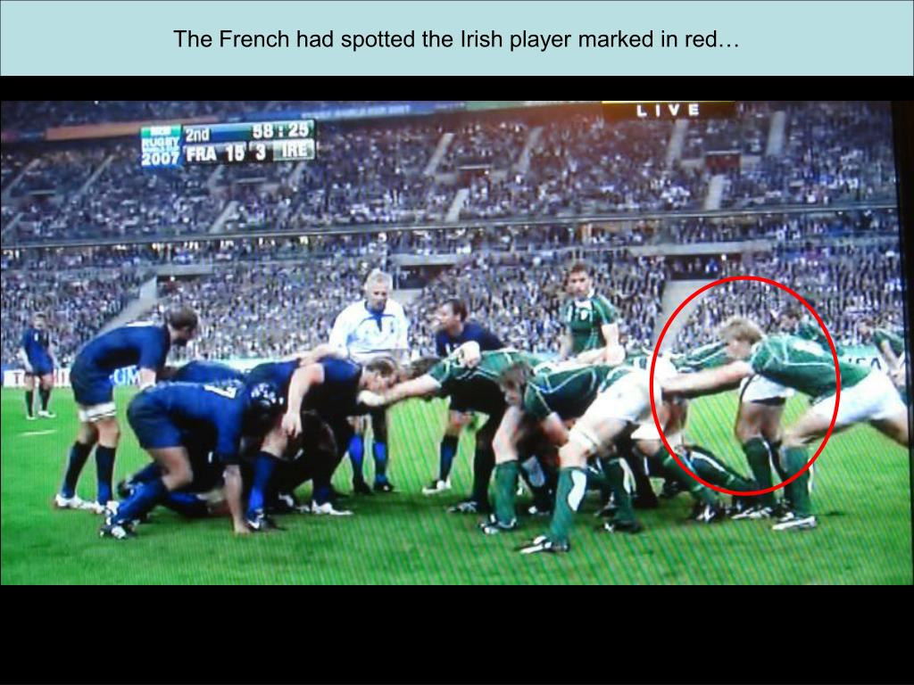 The French had spotted the Irish player marked in red…