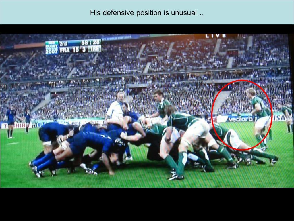 His defensive position is unusual…