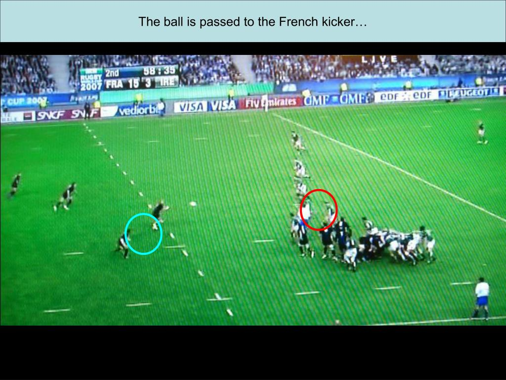 The ball is passed to the French kicker…