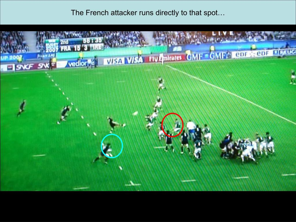 The French attacker runs directly to that spot…