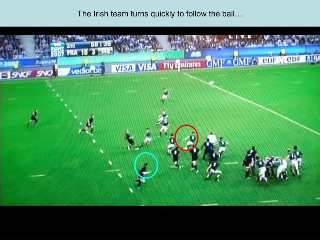 The Irish team turns quickly to follow the ball…