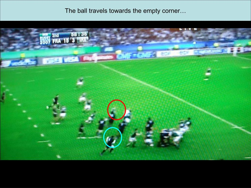 The ball travels towards the empty corner…