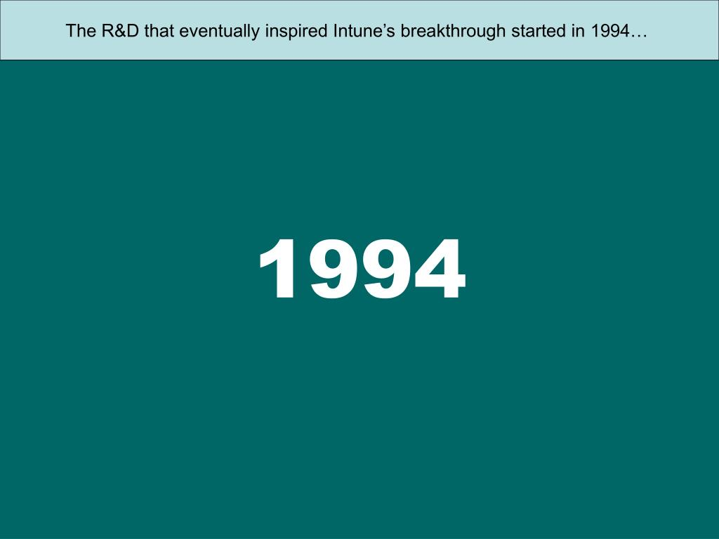 The R&D that eventually inspired Intune's breakthrough started in 1994…