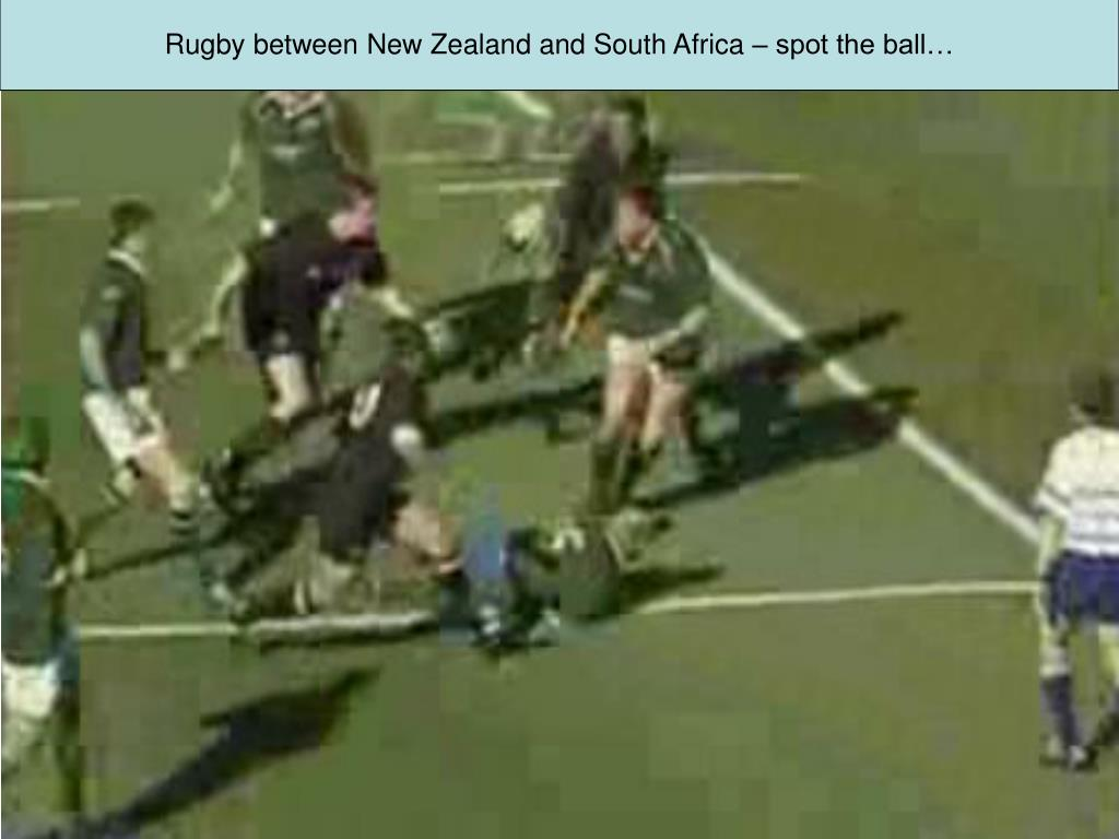 Rugby between New Zealand and South Africa – spot the ball…