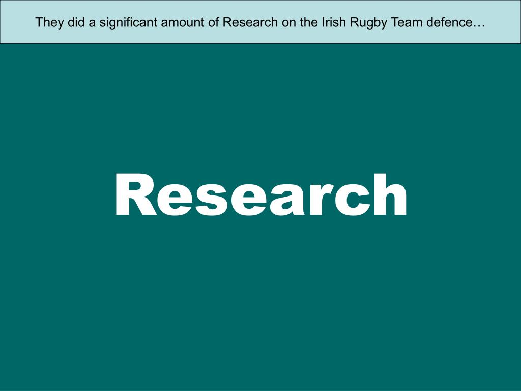 They did a significant amount of Research on the Irish Rugby Team defence…