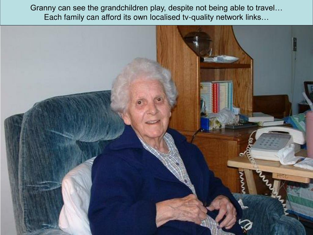 Granny can see the grandchildren play, despite not being able to travel…