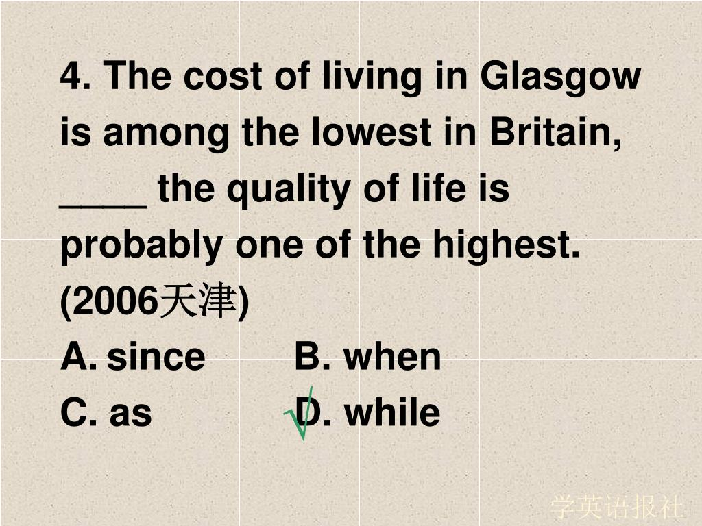 4. The cost of living in Glasgow