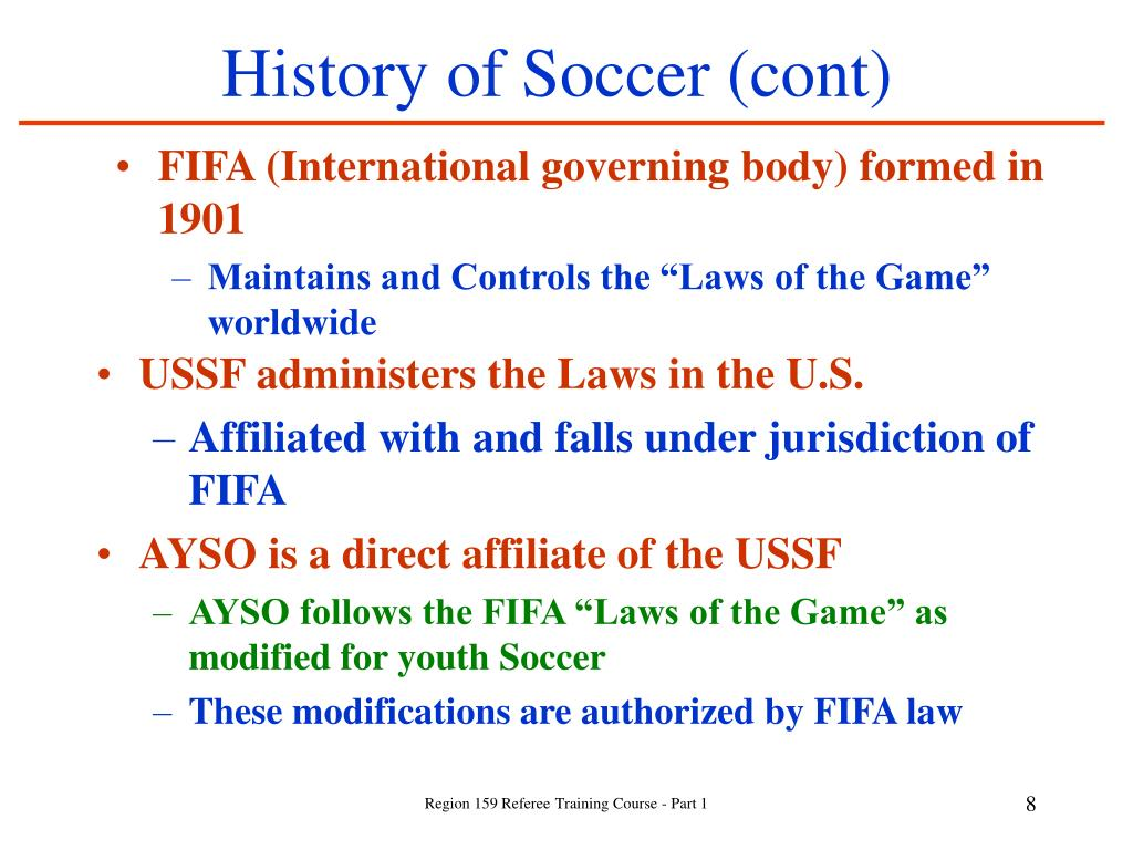 History of Soccer (cont)