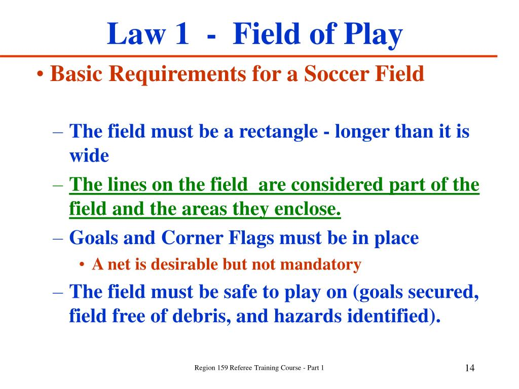 Law 1  -  Field of Play