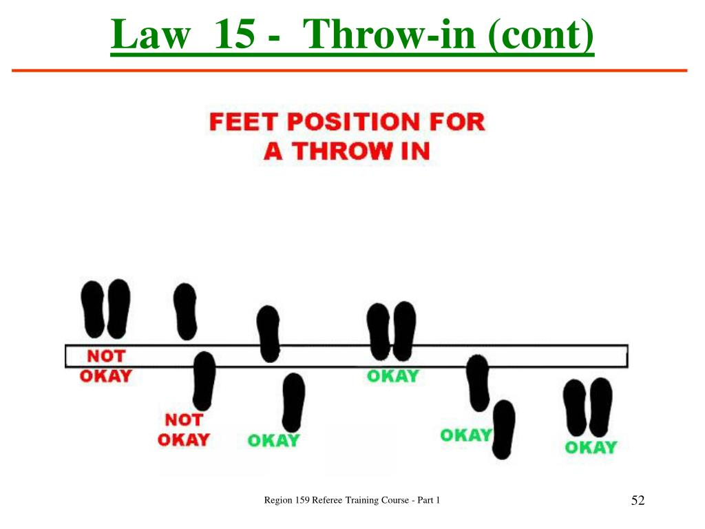 Law  15 -  Throw-in (cont)