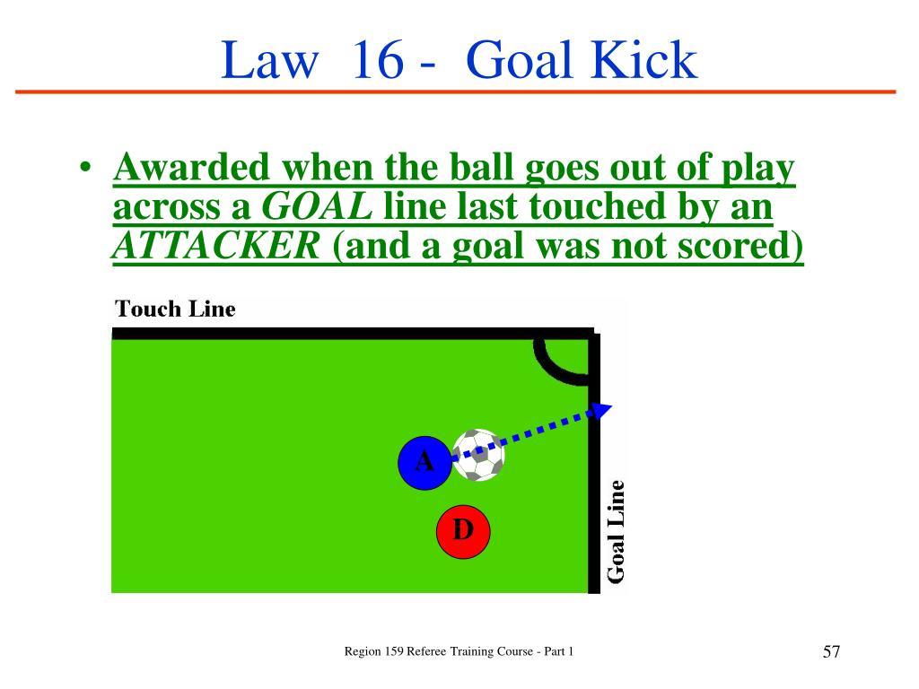 Law  16 -  Goal Kick