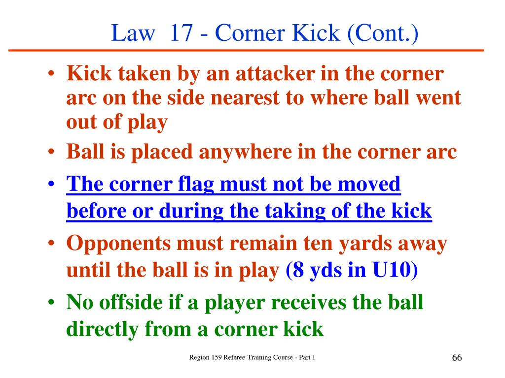Law  17 - Corner Kick (Cont.)