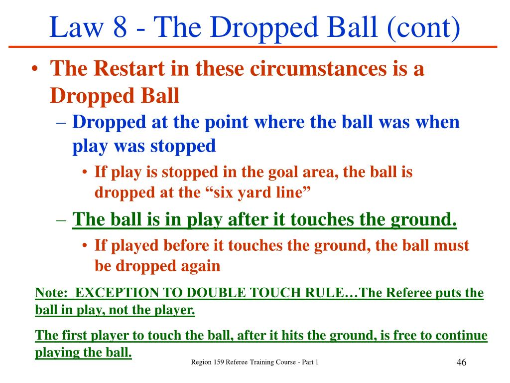 Law 8 - The Dropped Ball (cont)