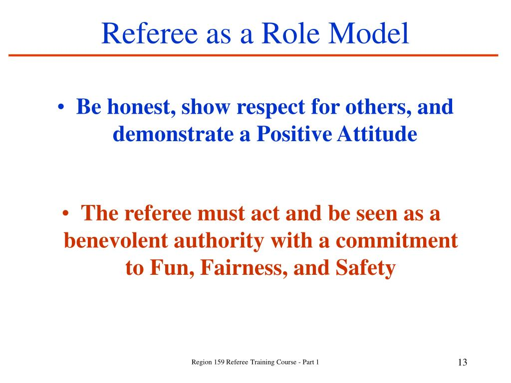 Referee as a Role Model