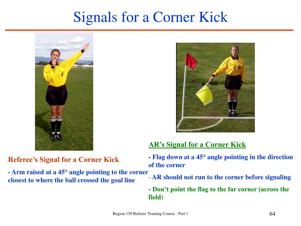 Signals for a Corner Kick