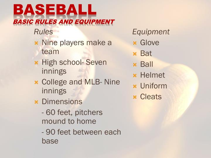 Baseball basic rules and equipment
