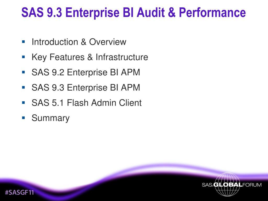 SAS 9.3 Enterprise BI Audit & Performance