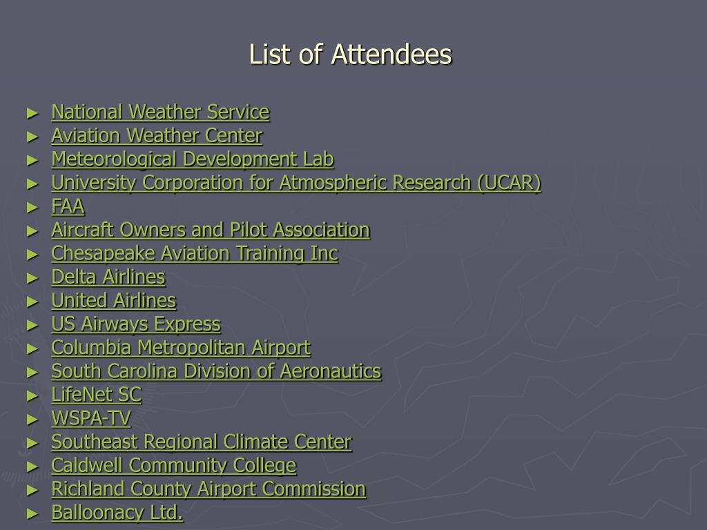 List of Attendees