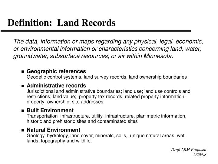 Definition land records