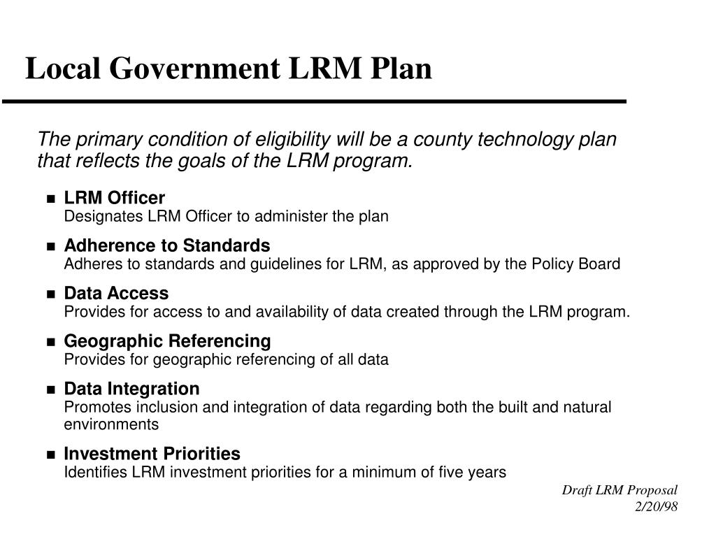 Local Government LRM Plan