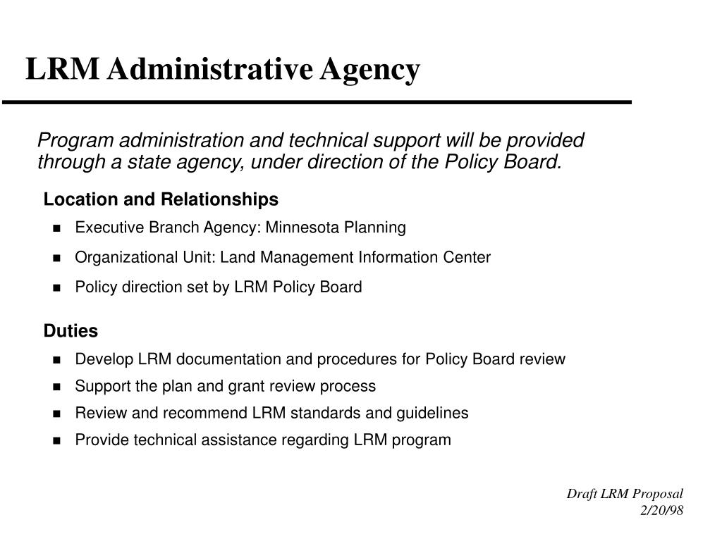 LRM Administrative Agency