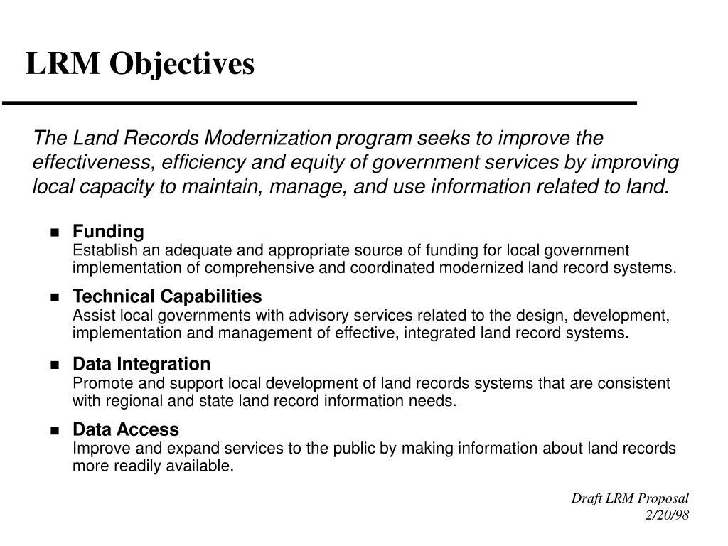 LRM Objectives