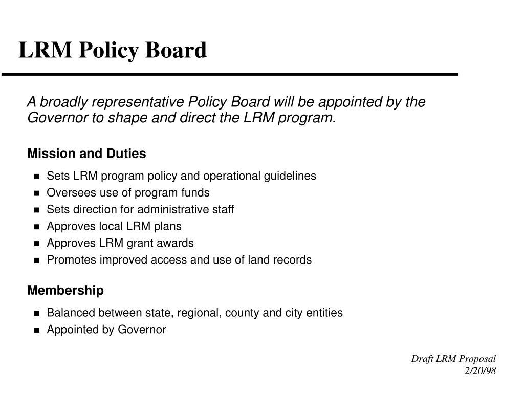LRM Policy Board