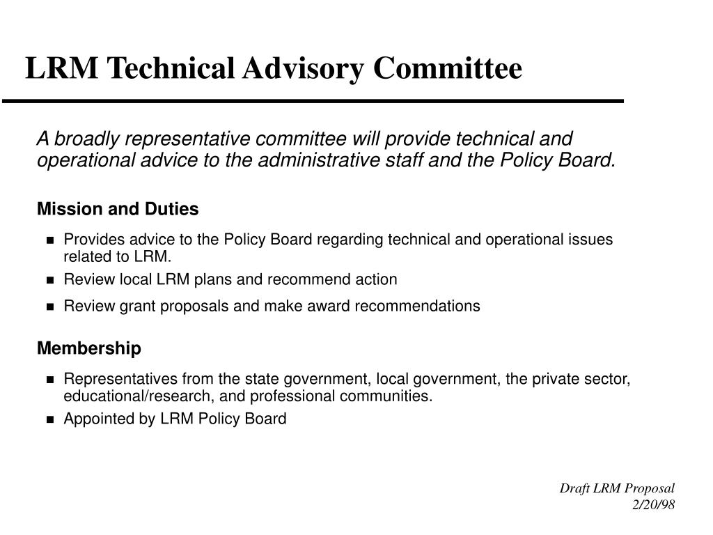 LRM Technical Advisory Committee