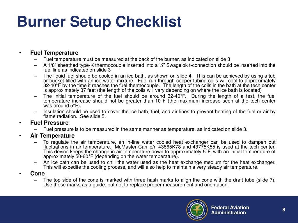 Burner Setup Checklist