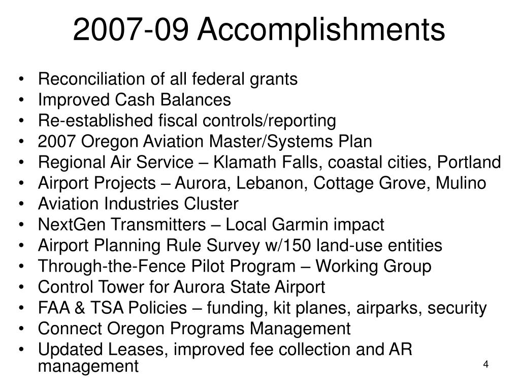 2007-09 Accomplishments