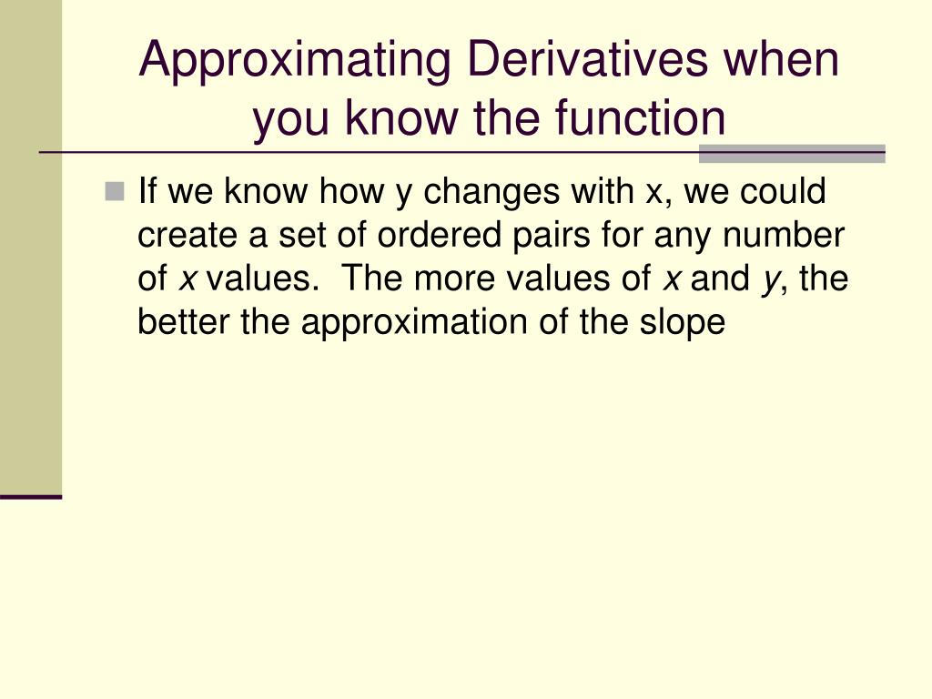 Approximating Derivatives when you know the function