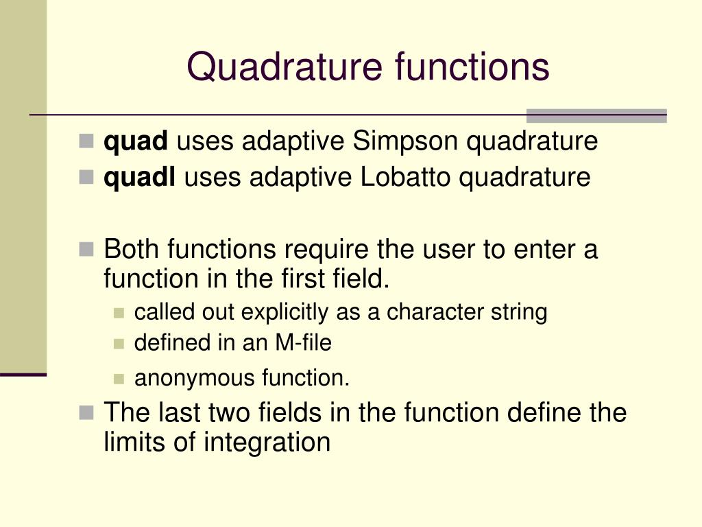 Quadrature functions