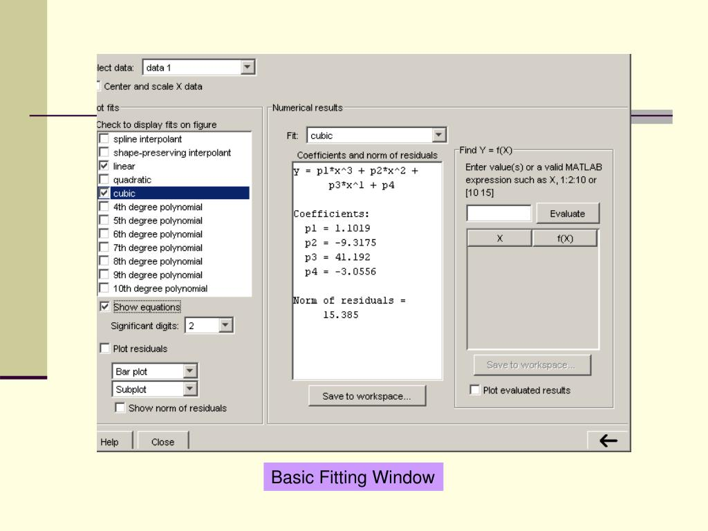 Basic Fitting Window