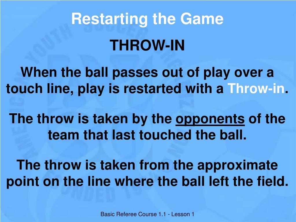 Restarting the Game