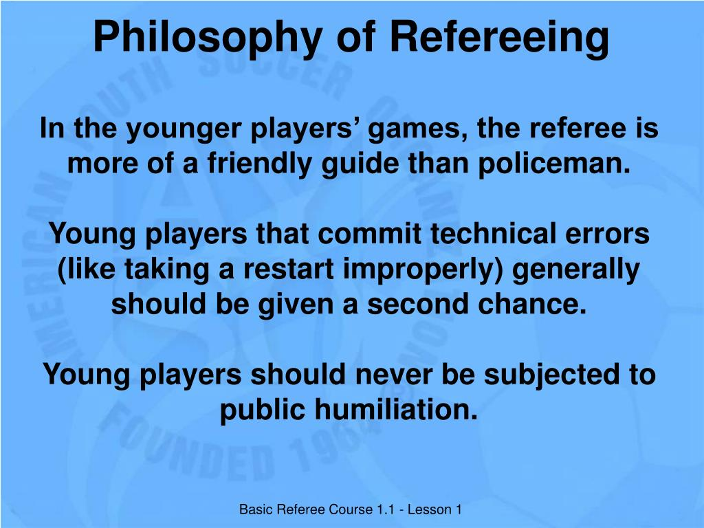 Philosophy of Refereeing