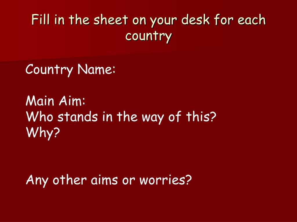 Fill in the sheet on your desk for each country