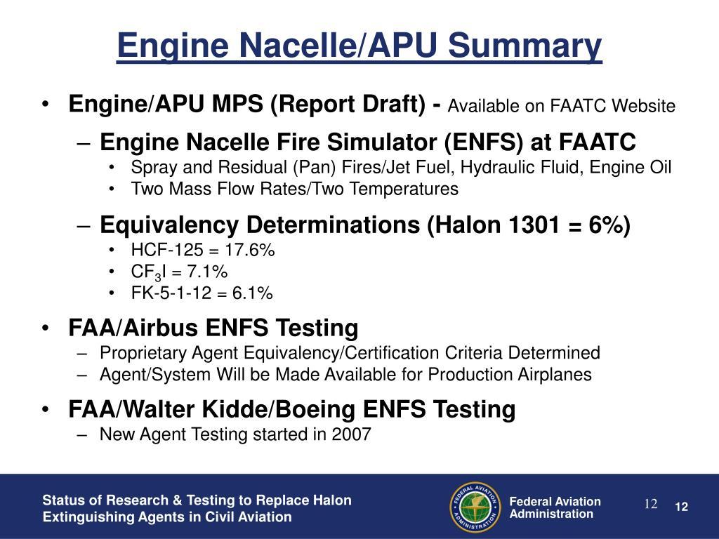 Engine Nacelle/APU Summary