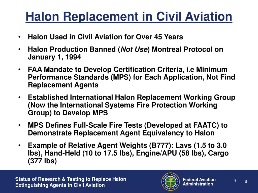 Halon Replacement in Civil Aviation