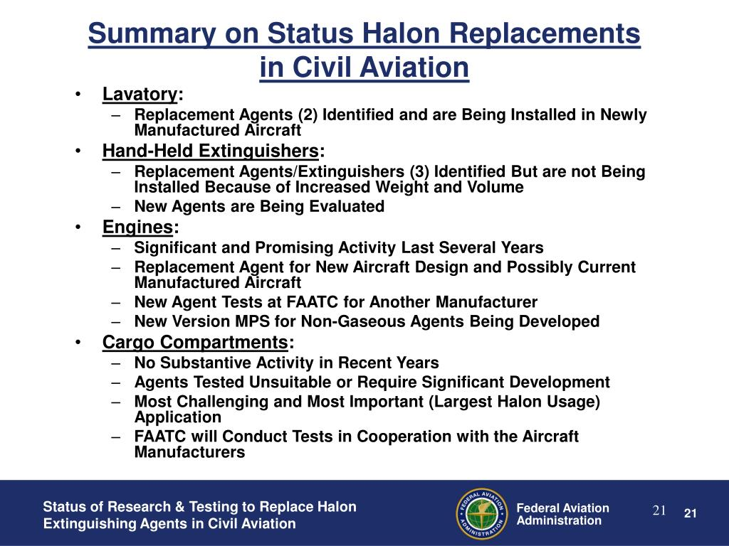 Summary on Status Halon Replacements